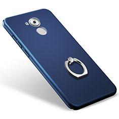 Custodia Plastica Rigida Opaca con Anello Supporto per Huawei Enjoy 6S Blu