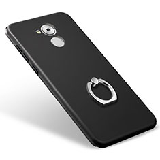 Custodia Plastica Rigida Opaca con Anello Supporto per Huawei Enjoy 6S Nero