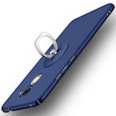 Custodia Plastica Rigida Opaca con Anello Supporto per Huawei Enjoy 7 Plus Blu