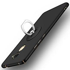 Custodia Plastica Rigida Opaca con Anello Supporto per Huawei Enjoy 7 Plus Nero