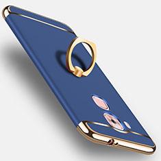 Custodia Plastica Rigida Opaca con Anello Supporto per Huawei G9 Plus Blu