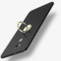 Custodia Plastica Rigida Opaca con Anello Supporto per Huawei GR5 Nero
