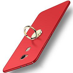 Custodia Plastica Rigida Opaca con Anello Supporto per Huawei GR5 Rosso