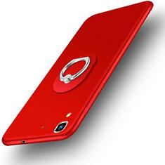 Custodia Plastica Rigida Opaca con Anello Supporto per Huawei Honor 4A Rosso