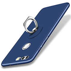 Custodia Plastica Rigida Opaca con Anello Supporto per Huawei Honor 8 Blu