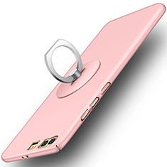 Custodia Plastica Rigida Opaca con Anello Supporto per Huawei Honor 9 Rosa