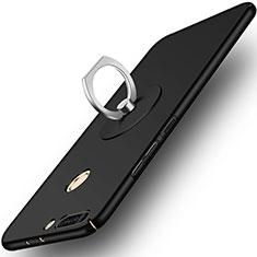 Custodia Plastica Rigida Opaca con Anello Supporto per Huawei Honor V9 Nero