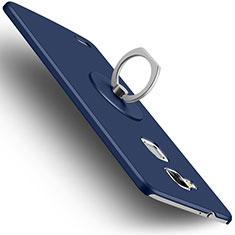 Custodia Plastica Rigida Opaca con Anello Supporto per Huawei Mate 7 Blu