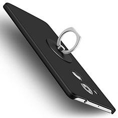 Custodia Plastica Rigida Opaca con Anello Supporto per Huawei Mate 8 Nero