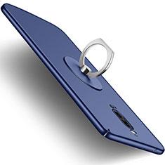 Custodia Plastica Rigida Opaca con Anello Supporto per Huawei Mate 9 Pro Blu