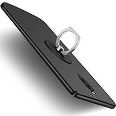 Custodia Plastica Rigida Opaca con Anello Supporto per Huawei Mate 9 Pro Nero