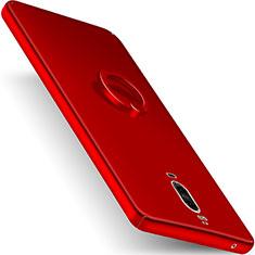Custodia Plastica Rigida Opaca con Anello Supporto per Huawei Mate 9 Pro Rosso