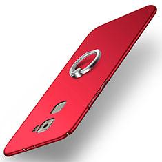 Custodia Plastica Rigida Opaca con Anello Supporto per Huawei Mate S Rosso