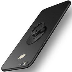 Custodia Plastica Rigida Opaca con Anello Supporto per Huawei Nova 2 Nero