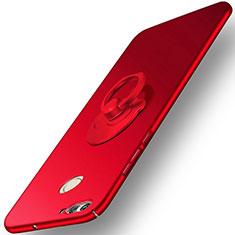 Custodia Plastica Rigida Opaca con Anello Supporto per Huawei Nova 2 Plus Rosso