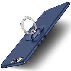 Custodia Plastica Rigida Opaca con Anello Supporto per Huawei P10 Blu