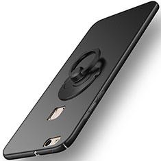 Custodia Plastica Rigida Opaca con Anello Supporto per Huawei P10 Lite Nero
