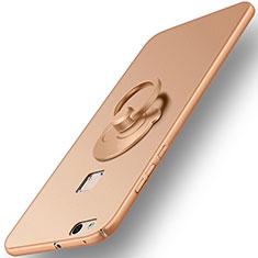 Custodia Plastica Rigida Opaca con Anello Supporto per Huawei P10 Lite Oro