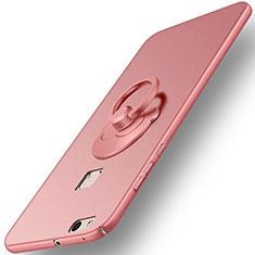 Custodia Plastica Rigida Opaca con Anello Supporto per Huawei P10 Lite Oro Rosa