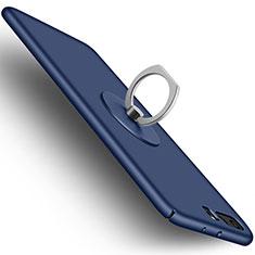 Custodia Plastica Rigida Opaca con Anello Supporto per Huawei P10 Plus Blu