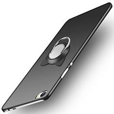 Custodia Plastica Rigida Opaca con Anello Supporto per Huawei P8 Max Nero