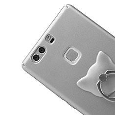 Custodia Plastica Rigida Opaca con Anello Supporto per Huawei P9 Plus Argento