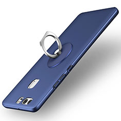 Custodia Plastica Rigida Opaca con Anello Supporto per Huawei P9 Plus Blu