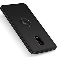 Custodia Plastica Rigida Opaca con Anello Supporto per Nokia 6 Nero