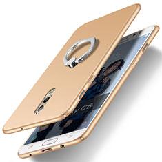 Custodia Plastica Rigida Opaca con Anello Supporto per Samsung Galaxy C8 C710F Oro