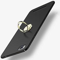 Custodia Plastica Rigida Opaca con Anello Supporto per Xiaomi Mi 4i Nero