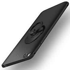 Custodia Plastica Rigida Opaca con Anello Supporto per Xiaomi Mi 5S Nero