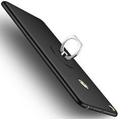 Custodia Plastica Rigida Opaca con Anello Supporto per Xiaomi Mi Max 2 Nero