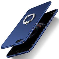 Custodia Plastica Rigida Opaca con Anello Supporto per Xiaomi Mi Note 3 Blu