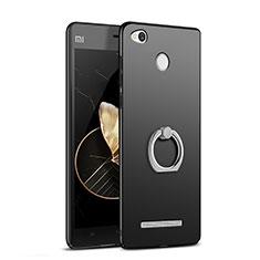 Custodia Plastica Rigida Opaca con Anello Supporto per Xiaomi Redmi 3 Pro Nero