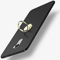 Custodia Plastica Rigida Opaca con Anello Supporto per Xiaomi Redmi 4 Standard Edition Nero