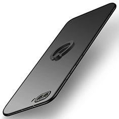 Custodia Plastica Rigida Opaca con Anello Supporto Q03 per Huawei Honor V10 Nero