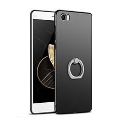 Custodia Plastica Rigida Opaca con Anello Supporto R01 per Xiaomi Mi Note Nero
