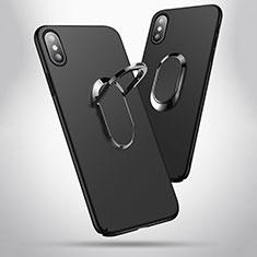 Custodia Plastica Rigida Opaca con Anello Supporto T01 per Apple iPhone Xs Max Nero