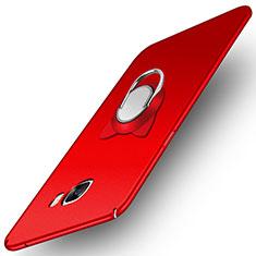 Custodia Plastica Rigida Opaca con Magnetico Anello Supporto per Samsung Galaxy C7 Pro C7010 Rosso