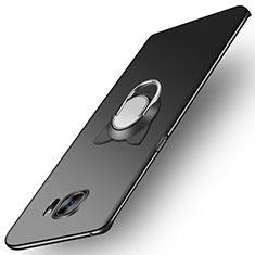 Custodia Plastica Rigida Opaca con Magnetico Anello Supporto per Samsung Galaxy S7 Edge G935F Nero