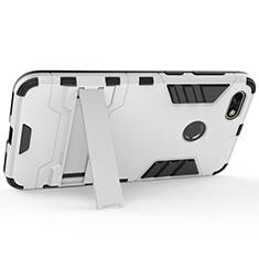 Custodia Plastica Rigida Opaca con Supporto per Huawei Enjoy 7 Argento