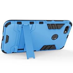 Custodia Plastica Rigida Opaca con Supporto per Huawei Enjoy 7 Blu