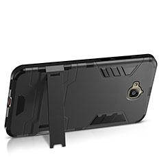 Custodia Plastica Rigida Opaca con Supporto per Huawei Y6 Pro Nero