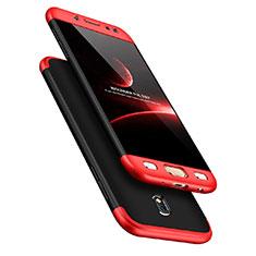 Custodia Plastica Rigida Opaca Fronte e Retro 360 Gradi per Samsung Galaxy J7 Pro Rosso e Nero