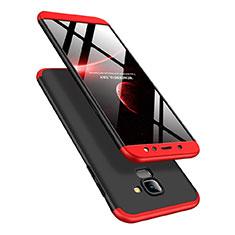 Custodia Plastica Rigida Opaca Fronte e Retro 360 Gradi Q01 per Samsung Galaxy A6 (2018) Dual SIM Rosso e Nero