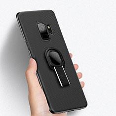 Custodia Plastica Rigida Perforato con Anello Supporto per Samsung Galaxy S9 Nero