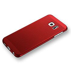 Custodia Plastica Rigida Perforato per Samsung Galaxy S6 Edge SM-G925 Rosso