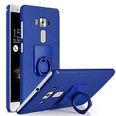 Custodia Plastica Rigida Sabbie Mobili con Anello Supporto per Asus Zenfone 3 Deluxe ZS570KL ZS550ML Blu
