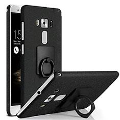 Custodia Plastica Rigida Sabbie Mobili con Anello Supporto per Asus Zenfone 3 Deluxe ZS570KL ZS550ML Nero