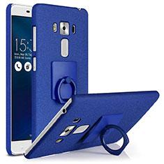 Custodia Plastica Rigida Sabbie Mobili con Anello Supporto per Asus Zenfone 3 Laser Blu